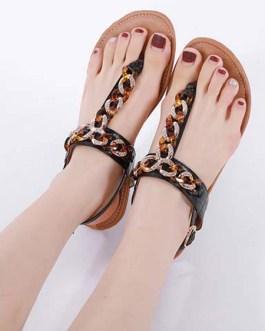 Flat Rhinestones Chic T-String Open Toe Sandals