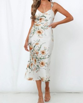 Floral Bodycon Backless Sleeveless Slip Dress