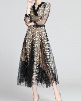 Flower Embroidered Long Tulle Maxi Dress