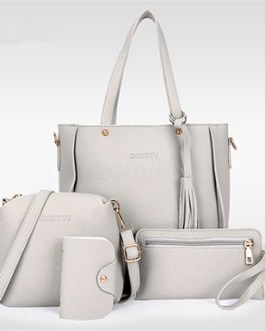 Four Piece Bag Set – Shoulder Bag Messenger Satchel Wristlet Wallet