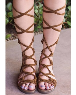Gladiator Style Strapped Sandals – Closed Heel Zipper Back
