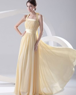 Grace Floor-Length Bridesmaid Dress with Halter Sheath Draped Chiffon