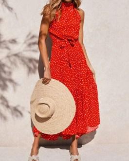 Jewel Neck Printed Lace Up Beach Dress