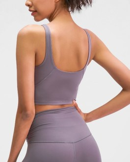 Naked-feel Padded Athletic Running Fitness Sport Crop Tops
