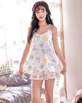 Round Neck Printed Sleeveless Casual Short Slings Sleepwear