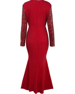 Sequin Long Sleeves Maxi Dresses
