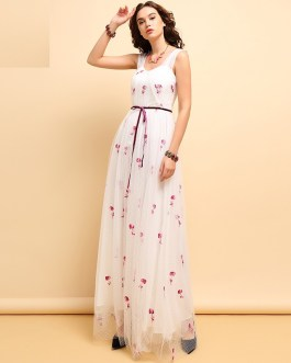 Sleeveless Vintage Floral Embroidery Bow Tie Mesh Elegant Party Dress