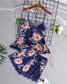 Stain Lace Floral Sling Silk Two Piece Sleepwear