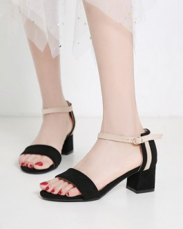 Ankle Strap Stitching Flock Thick High Heels Sandals