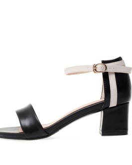 Ankle Strap Stitching Pu Thick High Heels Sandals