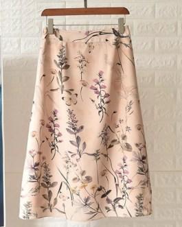 Butterfly Flower Print Silk High Waist A-Line Midi Skirt