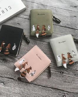 Cartoon Animal Print Pu Leather Zipper Short Wallet