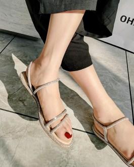 Crystal Diamond Ankle Strap Flat Sandals