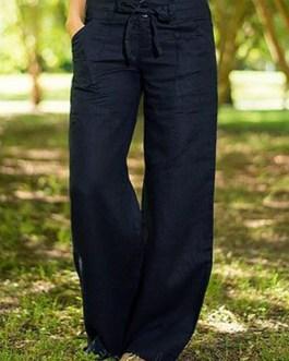 Casual Wide Leg Yoga Solid Pocket Pants