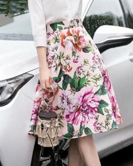 Charming Flower Print High Waist Mid-Calf Skirt