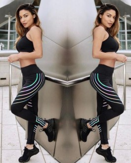 Colored Striped High Waist Skinny Yoga Leggings