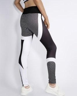Contrast Color Digital Print Yoga Leggings