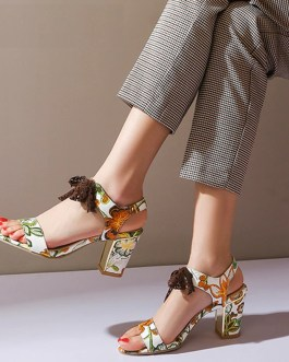 Lace Strips Print High Heels Sandals