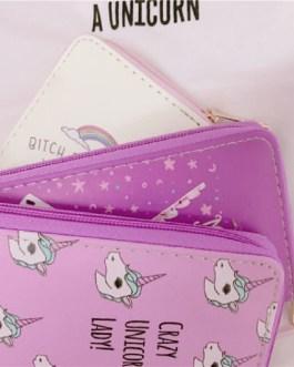 Lovely cute unicorn print card holders designed long zipper wallet