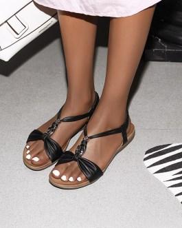 Metal Decor Footwear Flat Sandals