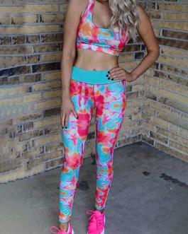 Multicolored Print High Waist Sports Leggings
