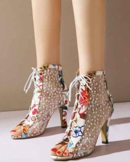 Peep Toe Boots Mesh Lace Up High Heel Booties