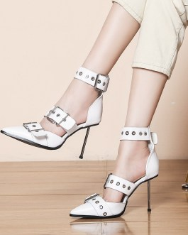 Pointed Toe Rivet Leather High Heels Sandals