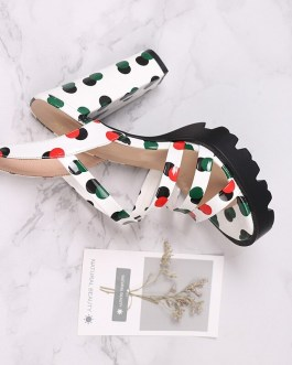Polka Dot Gladiator Thick High Heels Sandals