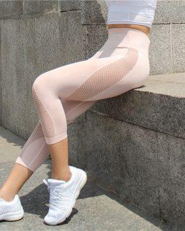 Seamless Mesh Running Sport Tights Capri Pants