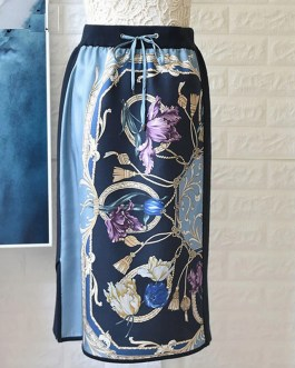 Silk Print Patchwork Wool Knitting High Waist Skirt
