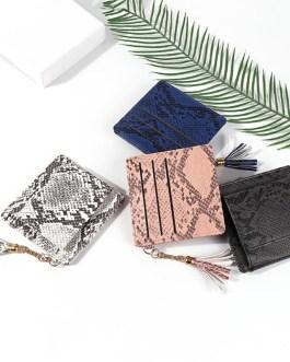 Snake Printing PU Leather  Tassel Fashion Soft Square Small Purse
