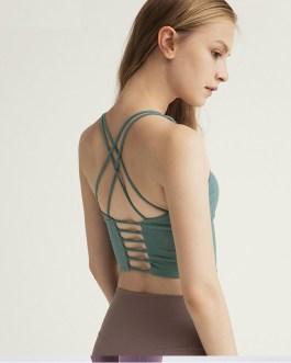 Solid Spaghetti Straps Yoga Gym Crop Tops