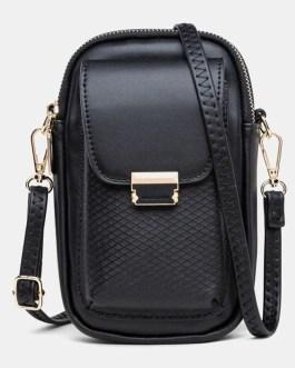 Solid Zipper Crossbody Shoulder Bag
