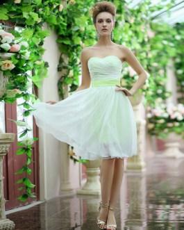 Strapless Sash Bow Lace Up Organza Bridesmaid Dress