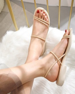 Strappy Flat Rubber Sole Sewing Casual Sandals