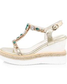 Straw Weave Crystal Heepskin Casual Wedges Sandals