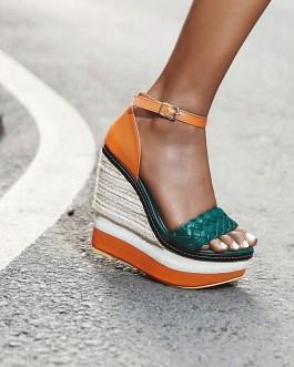 Weave High Heels Platform Sandals