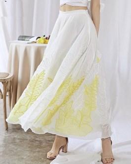 luxury Embroidery Applique High Waist Maxi Skirt