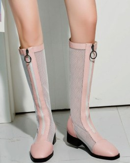 Boots Square Toe Mesh Low Block Heel Knee-high Boots