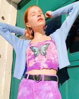 Butterfly Printed Sleeveless Spaghetti Strap Tops