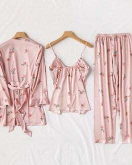 Casual Floral Print Silk Sleepwear Set