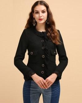 Casual Ruffled Lace Button Coats Tops