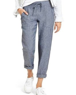 Casual Solid Color Elastic Waist Side Pockets Trouser Pants