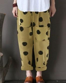 Cotton Polka Dot Elastic Waist Pants with Pockets