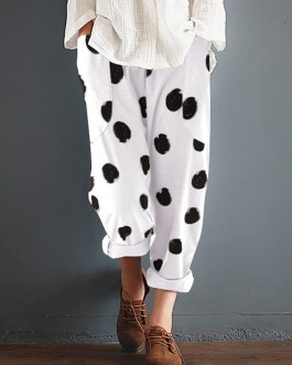 Cotton Polka Dot Elastic Waist Pockets Pants