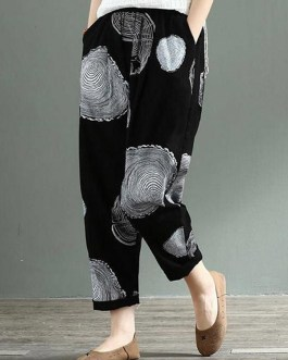 Cotton Wave Point Elastic Waist Side Pockets Trousers