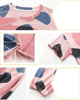 Printed Overhead Short Sleeve Two-Piece Pajama Set