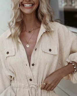 Elegant Buttons Long Sleeve Shirt Dress