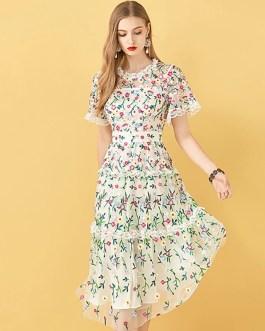 Flowers Embroidery Ruffles Vintage Midi Dresses