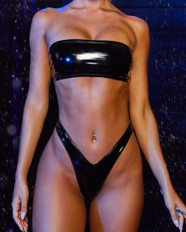 Futuristic Shiny Patent Leather Two Piece Strapless Swimsuit